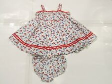 New with tag Ralph Lauren Girls White Flowers Red RL Dress 2 pc Set 6M 9M Summer