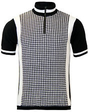 NEW MOD RETRO 60s 70s Vintage MENS SLIM FIT CYCLING TOP SHIRT : DOGTOOTH PRINT