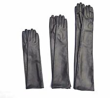Custom made 30cm to 80cm long plain style evening real leather gloves*dark grey