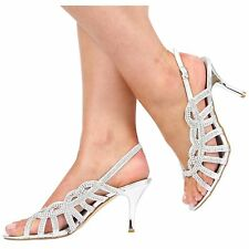 WOMEN LADIES NEW DIAMANTE PARTY WEDDING BRIDAL HEEL SANDALS  SIZE 3-8