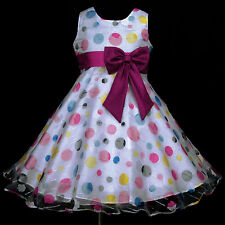 z UkG w866 Red Hotpink Dots Fuchsia White Wedding Party Flower Girls Dress 2-12y