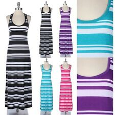 Multi Striped Racerback Maxi Dress Full Length Long Sleeveless Scoop Neck Casual