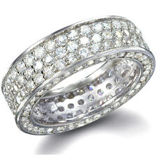.925 Sterling Silver Micro Pave Sim Diamond Wide Eternity Ring Anniversary Band