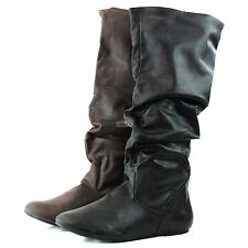 Fashion Comfort Mid Calf Knee High Flat Heel Slouch Western Cowboy Boots Shoes
