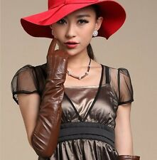 """70cm(27.6"""") long plain style top quality leather evening/opera gloves*burgundy"""