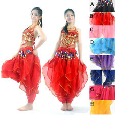 8 Color NEW Belly Dance Costume Set Bra Top & Tribal Gold Wavy Harem Pants Skirt