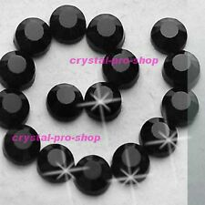 Jet Black Iron On Flatback Hotfix Rhinestones Crystal Glass Gems Bling Diam​ante