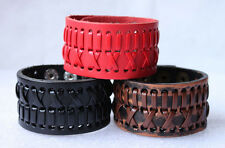New Style Wholeasale lots Leather Bracleet Cowhide Cuff Punk Bracelet YWP001-003