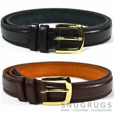 MEN'S LEATHER BELT IN BROWN / BLACK TROUSER SUIT BELT MILANO ALL SIZES