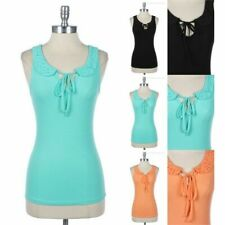 Lace Peter Pan Collar with Ribbon Straps Sleeveless Cotton Top Round Neck Casual