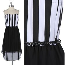 [Junior Plus Size] Striped Strapless Tube Belted Dress High Low Hem 1XL 2XL 3XL