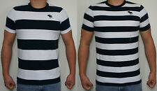 NWT ABERCROMBIE & FITCH MUSCLE SLIM FIT SHORT SLEEVE T-SHIRT Black&White Striped