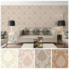 10M Damask Pearly Surface Pile Flocking Non-woven Wallpaper Rolls,Living room