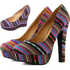 Paisley Platform High Heel Round Wedges Tribal Multi Colorful Bridal Dress Shoes