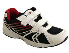 Small Boys Kids Black / Navy / Red Velcro Trainers Sizes 6 - 2