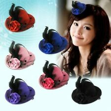 New Arriving 1pc Elegant Mini Top Feather Hat Fascinator Hair Clip Party Costume