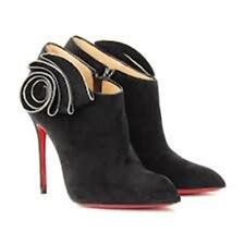 Christian Louboutin MRS BABA Black Suede Ankle Booties Boots Shoes Heels $1395