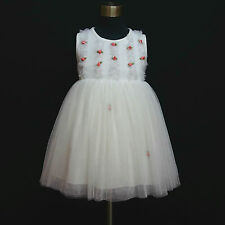 W8022 White Christening Wedding Party Flower Girls Tulle Dress SIZE 2,3,4,5,6,7Y