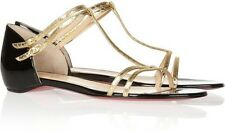 Christian Louboutin ARNOLD FLAT Patent Watersnake Sandals Shoes Gold Black $695