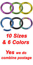 4 Colors, Titanium Plated 316L Surgical Steel Seemless Segment Lip Rings, Hoops