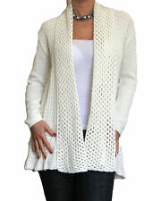 Ladies Cardigan Womens Long Sleeve Jacket Chunky Knitted New Top Size 8 10 12 14