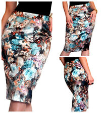 Skirt Ladies Womens Black Floral Bodycon New Midi Pencil Size 8 10 12 14 16 18