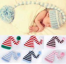 Cotton Baby Boy Girls Infant Unisex Christmas Hat Beanie Cap Santa Photo Props