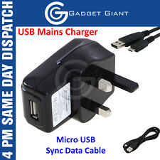 CE USB UK MAINS CHARGER WITH MICRO USB SYNC DATA CABLE FOR VARIOUS MOBILE PHONES