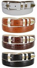 "Carmelo Italian Calfskin Leather Designer Dress Golf Belts for Men 1-1/8"" Wide"
