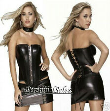 Black Corset Wet Look Front Busk Lace-up Back S-L Coquette D952