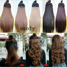 17''or 23'' 3/4 full head clip in hair extensions one pieces 5 clips via woman