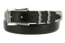 "The Omega - Italian Calfskin Genuine Leather Designer Dress Belts, 1-1/8"" Wide"