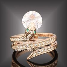 18k Rose Gold GP Awesome Swarovski Crystal Snake  Animal Ring M71