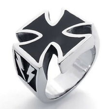 Men's Silver Stainless Steel Celtic Cross Harley Biker Ring Size 7-15 SR48