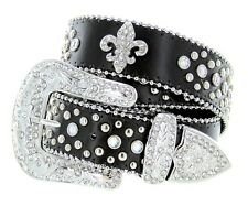 Western Rhinestone Cowgirl Chic Studded Crystal Black Leather Fleur-de-lis Belt