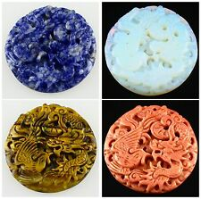 F1305 Four Material Carved Dragon phoenix Bird Pendant Bead