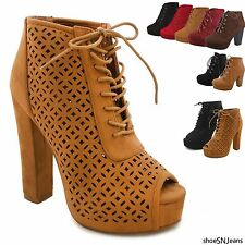 Women's Fashion High Heel Lace-Up Boots Bootie Ankle Platform Chunky Heel Shoes
