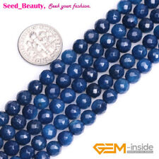 Natural Genuine Round Faceted Ball Dark Blue Agate Onyx GEM Loose Beads 15''