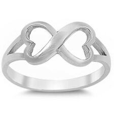 BEAUTIFUL SOLID TWISTED HEART INFINITY  .925 Sterling Silver Ring Sizes 4-10
