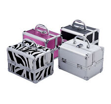 Makeup Train Case Jewelry Box Pro. Cosmetic Organizer Lockable Travel 4 Color 7""