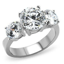4 Carat 3 Stone Design Stainless Steel Diamond Engagement Ring Size 5,6,7,8,9