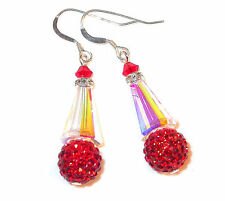 CLEAR AB & RED Disco Ball Earrings Silver Artemis Swarovski Crystal Elements
