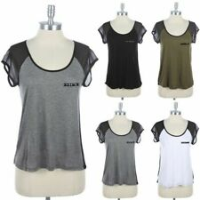 Round Neck Studded Raglan Mesh Short Sleeve T Shirt Sheer Back Casual Top