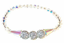 CLEAR AB & CLEAR Crystal Bracelet Stretch Artemis Disco Ball Swarovski Elements