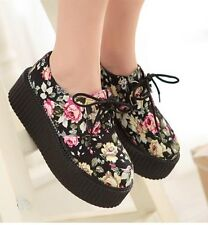 Womens Ladies Lace Up Round Toe Flower Print High Platform Creepers Shoes #Q8