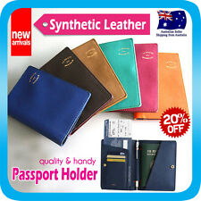 PASSPORT HOLDER CASE TRAVEL WALLET DOCUMENT CARD ORGANIZER BAG SYNTHETIC LEATHER