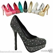 Women's High Heels Stiletto Pumps Party Dressy Prom Dance Sequins Shoes Delicacy