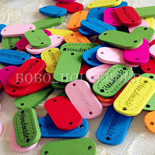 10/100PCS Cute Kid Wood Handmade Word Multi Mixed Color Craft Decoration Button