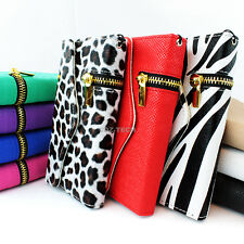 For Samsung Galaxy S4 S IV Zipper Flip Wallet PU Leather Hybrid Case Cover Pouch