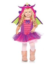 NEW Girl's Purple Dragon Dress and Wings Outfit Kids Toddler Halloween Costume